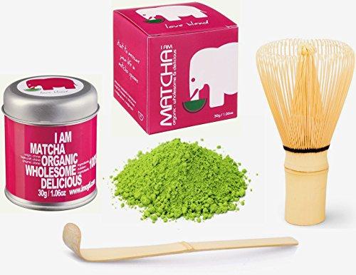 NEU MIT 30g Original BIO & VEGAN Matcha Starter Set - Markenprodukt von imogti - DLG Prämiert 2016 - (30g original Bio Matcha + Original Matcha Bambusbesen + Matcha Löffel geschenkt)