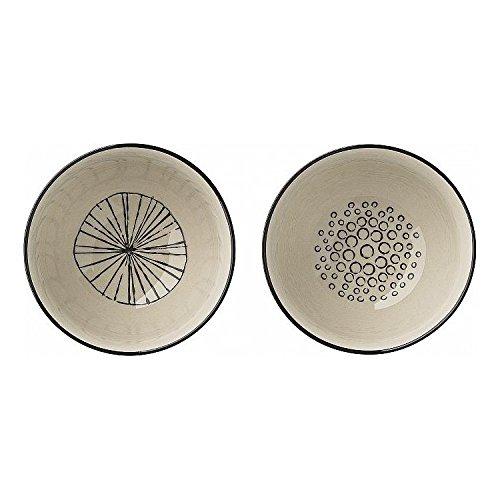 """Bloomingville """"Julie Bowls"""" Schüssel Schölchen Müslischalen (2er Set) Ø11x6,5cm mit schwarz weißem Muster"""
