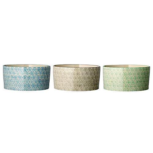 """Bloomingville Schale """"Isabella"""" mit Muster grau, grün, blau (Ø17,5x8cm; 3er Set)"""