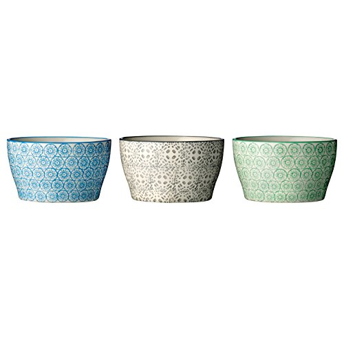 Bloomingville Schalen Isabella (3 Stück) / handgemacht / grau-grün-blau
