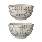 Bloomingville Schalen - Set (2 Stück) für Reis mit Muster, Rand in rosé und blau Ø11x6,5cm