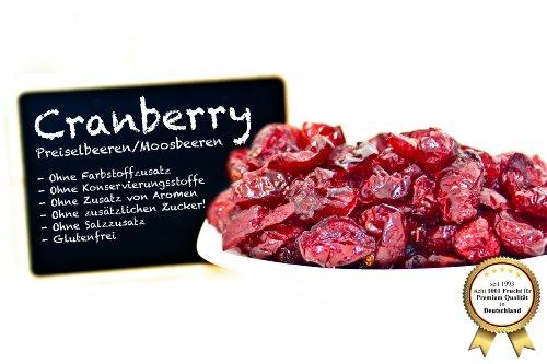 """Cranberries - Preiselbeeren - Moosbeeren - Cranberry - Airelle rouge - arándano rojo - mirtillo rosso, ungezuckert, ohne Schwefel, ohne Zusatzstoffe - mit Ananasdicksaft """"PREMIUM QUALITÄT""""- 1001 Frucht - EXCLUSIVE - Nüsse - Trockenfrüchte - Gewürze - 250 GR"""