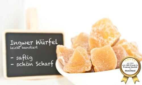 """Ingwer, leicht kandiert - 1001 Frucht - Ingwer Stücke - """"Top Qualität"""" - EXCLUSIV - Nüsse - Trockenfrüchte - Gewürze - 1000 GR"""