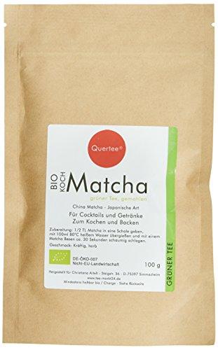Quertee Bio - Matcha Pulver Tee - 100 g im Zip-Beutel zum Kochen, Backen, Cocktails, Mixgetränke, 1er Pack (1 x 100 g)