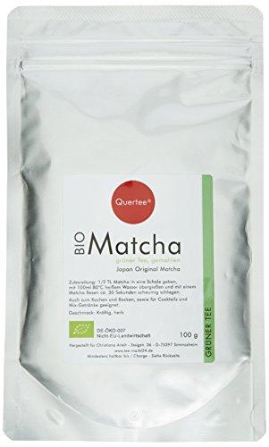 Quertee Japan Bio Matcha Tee Pulver - 100 g im Alu-Zip-Beutel - Japanischer Grünteepulver, 1er Pack (1 x 100 g)