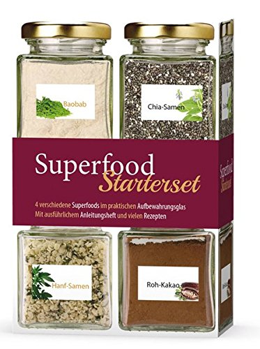 Superfood Starterset: Box mit vier Gläsern Superfoods und Rezepten