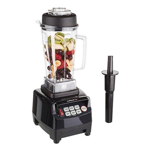 Ultratec Professioneller Standmixer (2,0 Liter, 1500 Watt, 6 Edelstahlmesser, inkl. Stößel und Smoothie Rezeptbuch), schwarz