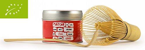 VegaVital Feel Good Bio Matcha Tee in Schöner Aromaschutz-Teedose im Set mit Orginal Besen und Löffel, 1er Pack (1 x 30 g)