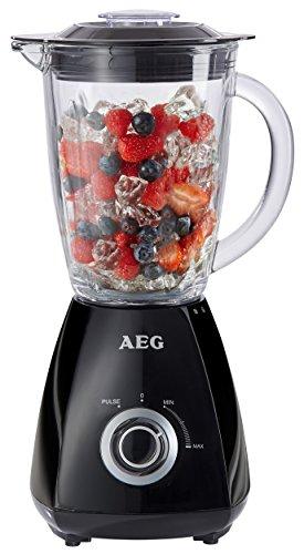 AEG Standmixer PerfectMix SB 185 (450 Watt, bis zu 20.500 U/min, Ice Crush, 1,5 L Glaskrug, 4 Edelstahlmesser) Schwarz