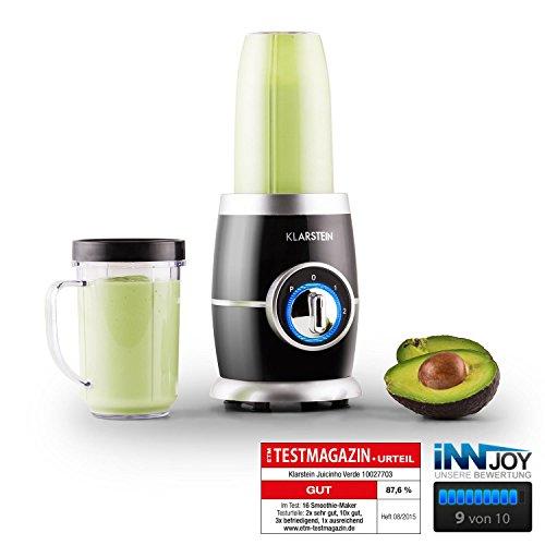 Klarstein Juicinho Nero Mini-Standmixer Smoothie Mixer für Frucht Smoothies, Drinks und Eiweiß-Shakes (220W,2 Geschwindigkeiten, Pulse, Edelstahl-Klingen) schwarz