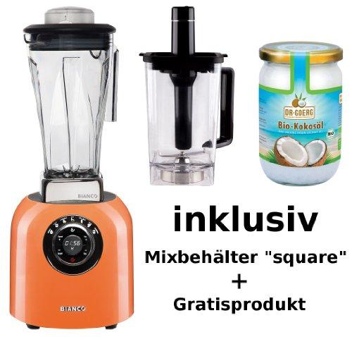 Standmixer BIANCO puro 4 Orange inkl. 1,0 Liter Nass-/Trockenbehälter square + Dr. Goerg Kokosöl ODER Rezeptbuch