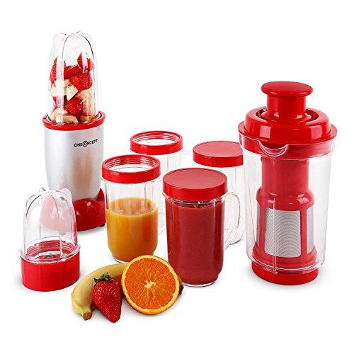 oneConcept Smoothy kleiner Smoothie-Maker und -Mixer Mini Standmixer Entsafter elektrisch (350W, 0,2 und 0,5 Liter Mixkrug, Edelstahl) silber-rot