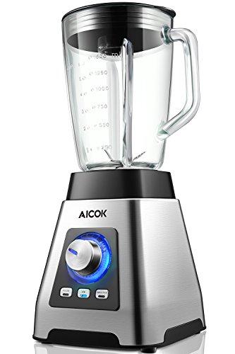 Aicok Standmixer, Smoothie Maker, 1,5L dickwandiges Glas, mit gebürstetem edelstahlgehäuse, (1000W, 24.000 U/min, ohne BPA), 15 Geschwindigkeiten und 3 Programme