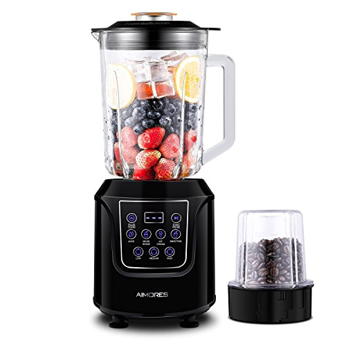 Aimores Smoothie Maker Mixer 5 Programmtasten Leistungsstarker Mixer 1,5L Glasbehälter für feine Smoothies Power Blender Maker Impulsfunktion Ice-Crusher | CE & LFGB & RoHS-zertifiziert