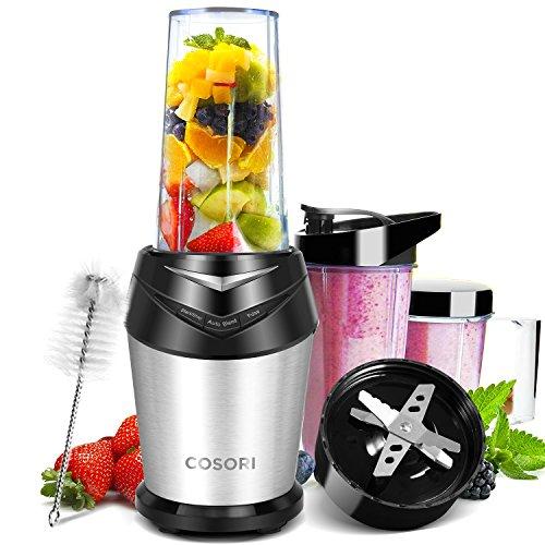 COSORI Edelstahl Standmixer Mixer Blender Smoothie Maker, Ice-Crusher 1000W, 23.000 U/min, 6 Edelstahlmesser, Inkl. 3 BPA-freie Tritan-Trinkflasche und Reinigungsbürste, Schwarz/Silber