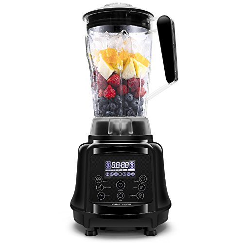Commercial Blender AIMORES for Smoothie, Pre-Programmed/Pulse/Speed Control (28,000 RPMs)/LED Touch Screen, 64oz Big Glass Pitcher, with Grinder & Recipe Book