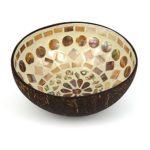 Kokosnuss Deko Schale Schüssel Weiß Mosaik - Natur Kokos Nuss Handarbeit - MyThaiMassage