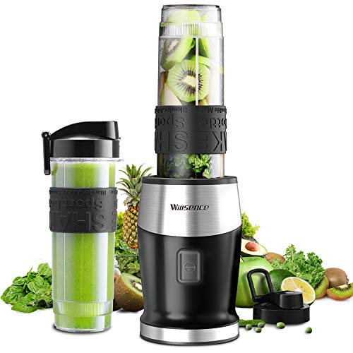 Smoothie Mixer, UPGRADED Willsence 700W Standmixer Smoothie Maker, Single Serve Mini Bullet Mixer mit 2 Tritan Sportflasche für Säfte, Shakes und Smoothie